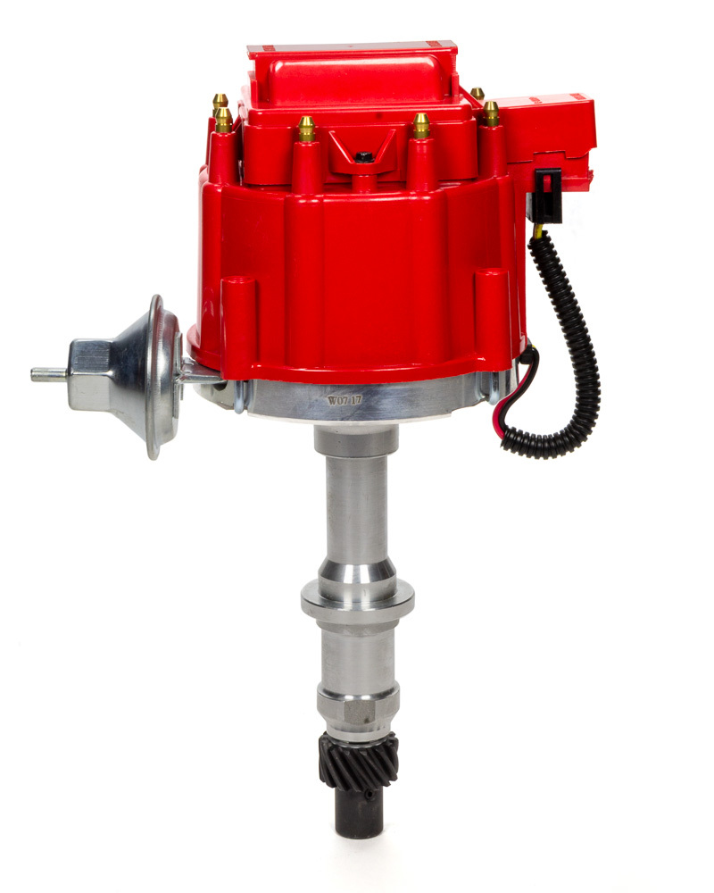 Specialty Chrome 3104R Distributor, Ready-To-Run, Magnetic Pickup, Vacuum Advance, HEI Style Terminal, Red, Pontiac V8, Each