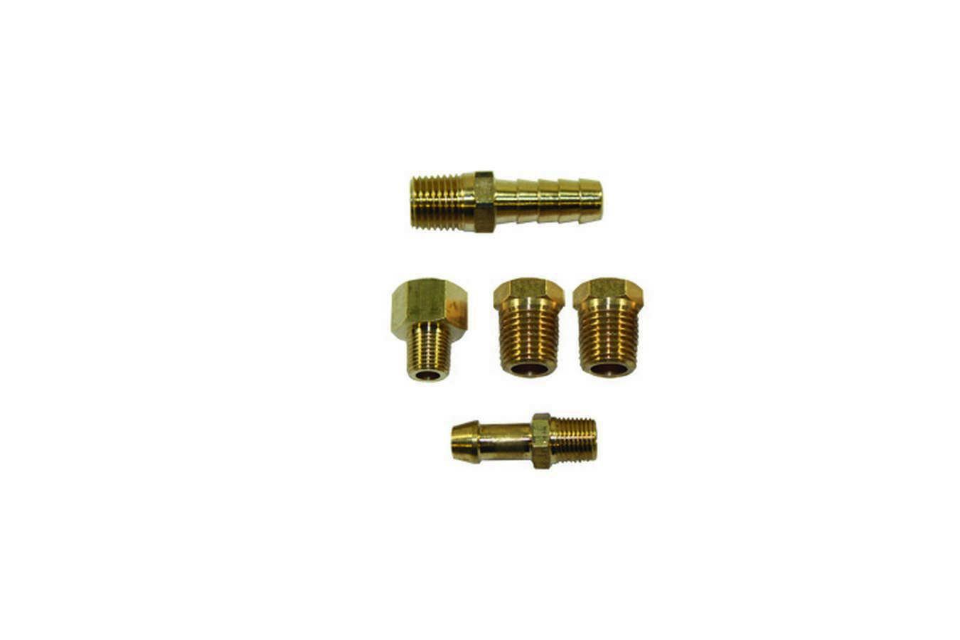 Specialty Chrome 3160 Fuel Pump Fitting Kit, Two 1/4 in NPT Male to 1/8 NPT Female, One 1/4 in NPT Male to 3/8 in Hose Barb, 1/8 in NPT Male to 1/4 in Hose Barb, 1/8 in NPT Male to 1/2-20 in IF Female, Brass, Natural, Universal, Kit