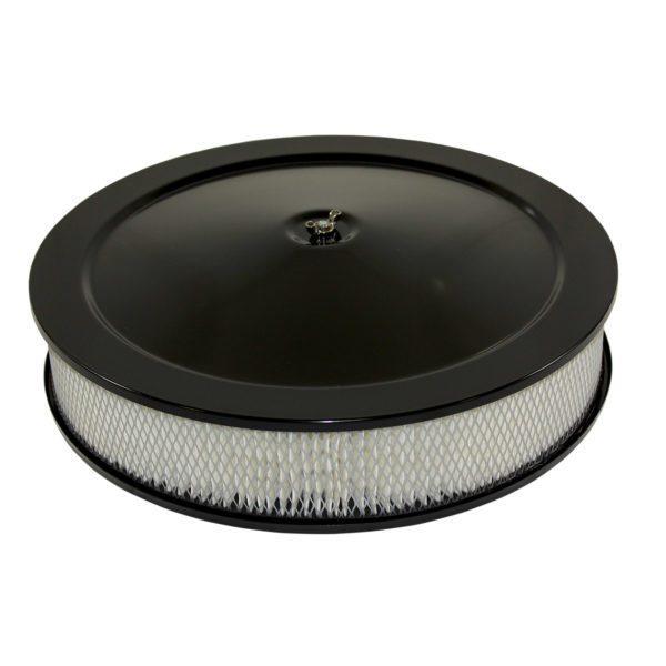 Specialty Products 4302BK Air Cleaner Assembly, High Dome, 14 in Round, 3 in Element, 5-1/8 in Carb Flange, Flat Base, Steel, Black Powder Coat, Kit