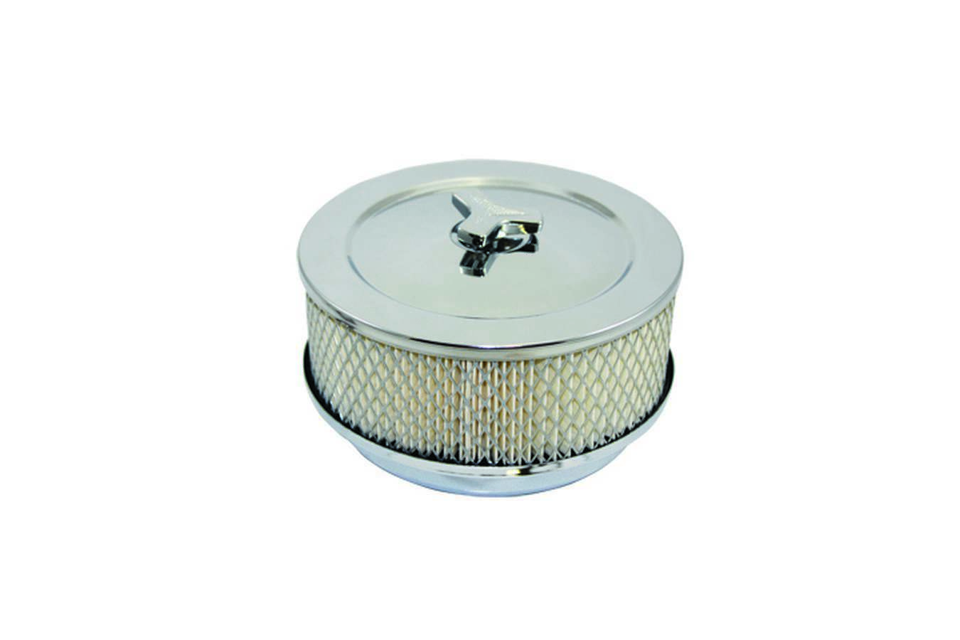 Specialty Products 4355 Air Cleaner Assembly, High Dome, 6 in Round, 2 in Element, 5-1/8 in Carb Flange, Raised Base, Steel, Chrome, Kit