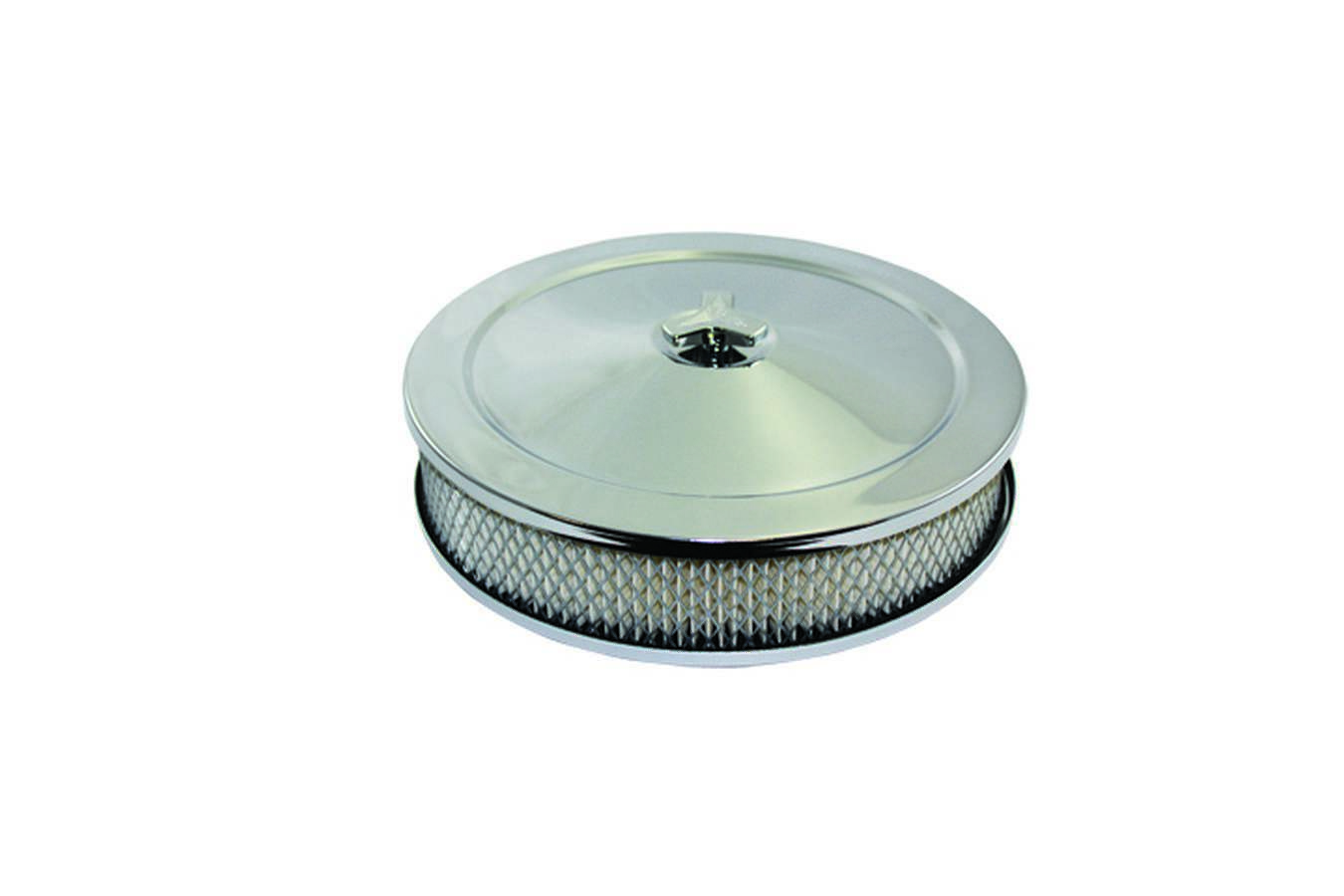 Specialty Products 4360 Air Cleaner Assembly, High Dome, 10 in Round, 2 in Element, 5-1/8 in Carb Flange, Raised Base, Steel, Chrome, Kit