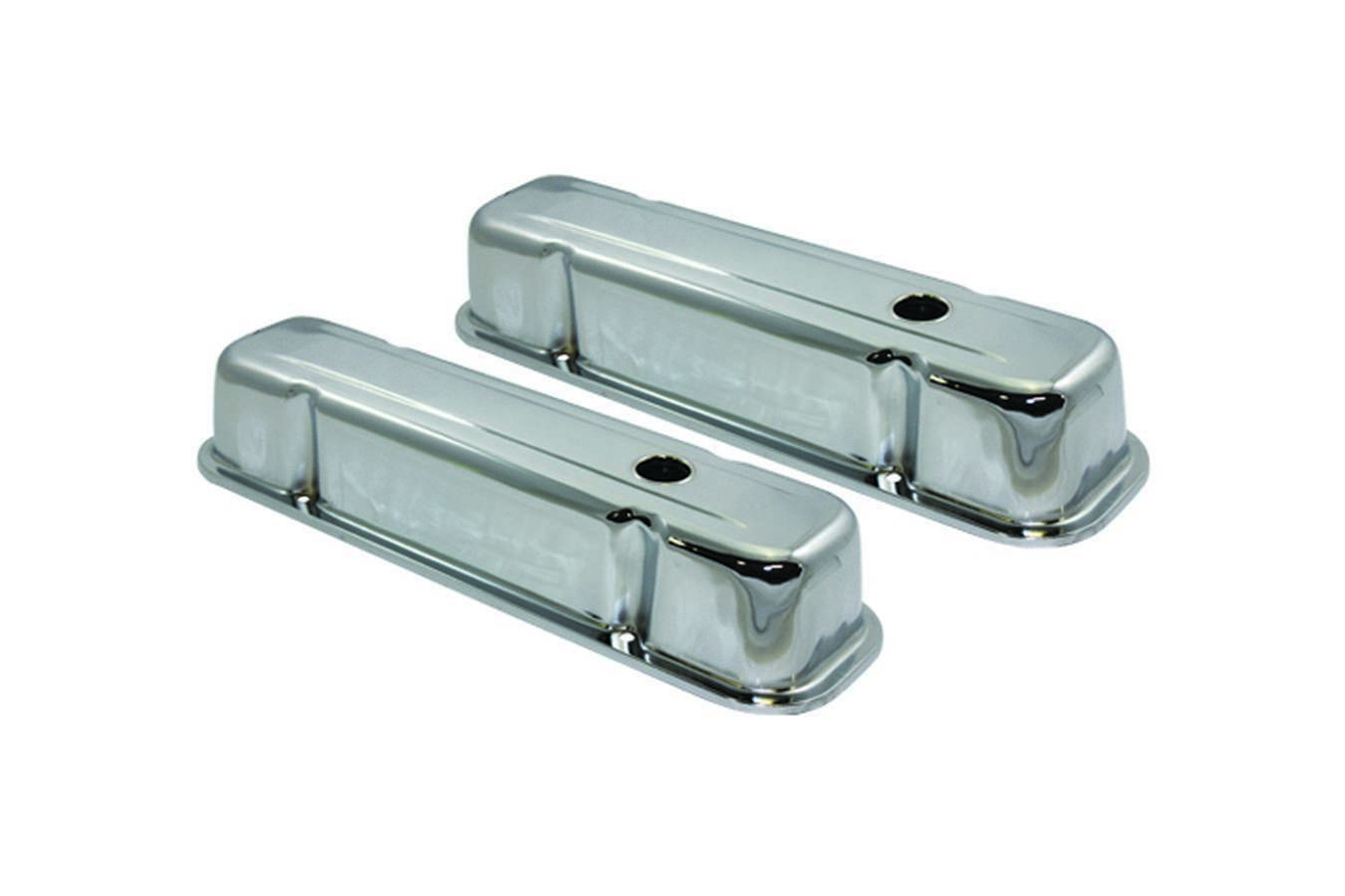 Specialty Products 7525 Valve Cover, Tall, Baffled, Breather Holes, Steel, Chrome, Pontiac V8, Pair