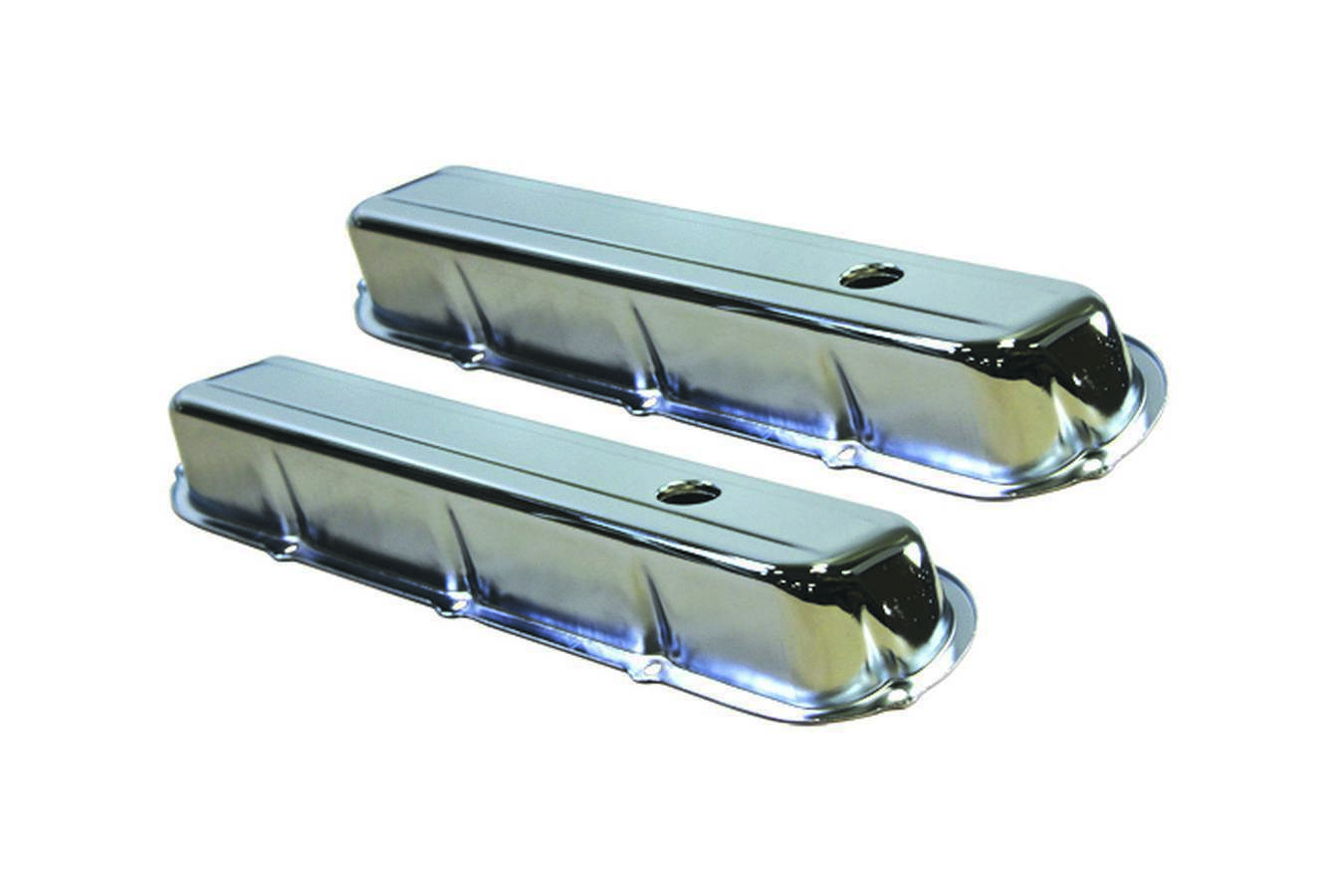 Specialty Products 7553 Valve Cover, Stock Height, Breather Holes, Steel, Chrome, Cadillac V8, Pair
