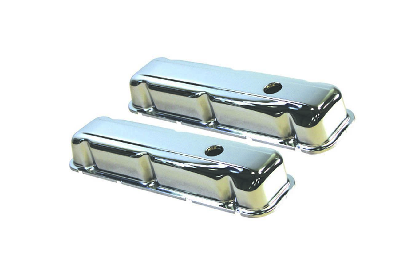 Specialty Products 7554 Valve Cover, Stock Height, Breather Holes, Steel, Chrome, Small Block Buick, Pair