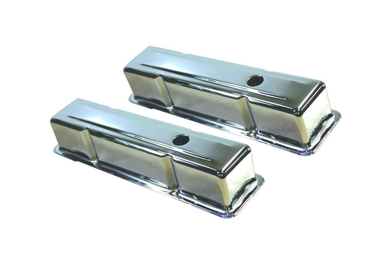 Specialty Products 8195 Valve Cover, Tall, Baffled, Breather Holes, Steel, Chrome, Small Block Chevy, Pair