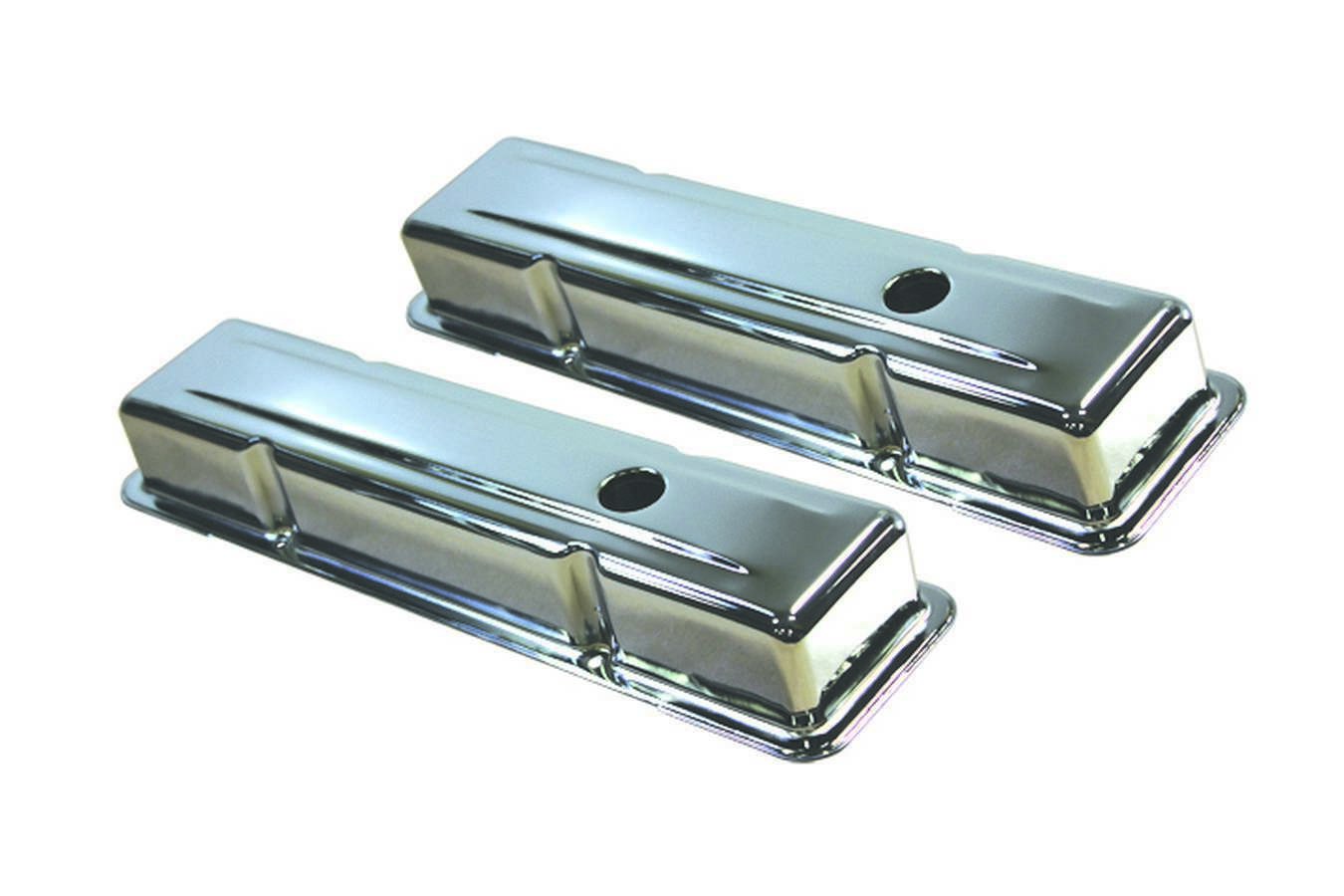 Specialty Products 8196 Valve Cover, Stock Height, Baffled, Breather Holes, Steel, Chrome, Small Block Chevy, Pair