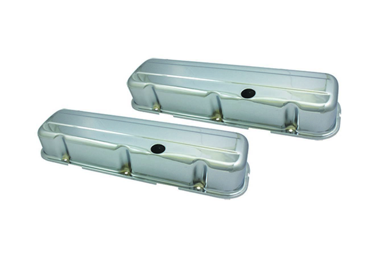 Specialty Products 8238 Valve Cover, Tall, Baffled, Breather Holes, Steel, Chrome, Big Block Chevy, Pair