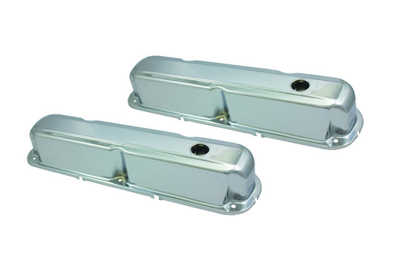 Specialty Products 8330 Valve Cover, Stock Height, Baffled, Breather Holes, Steel, Chrome, Small Block Mopar, Pair