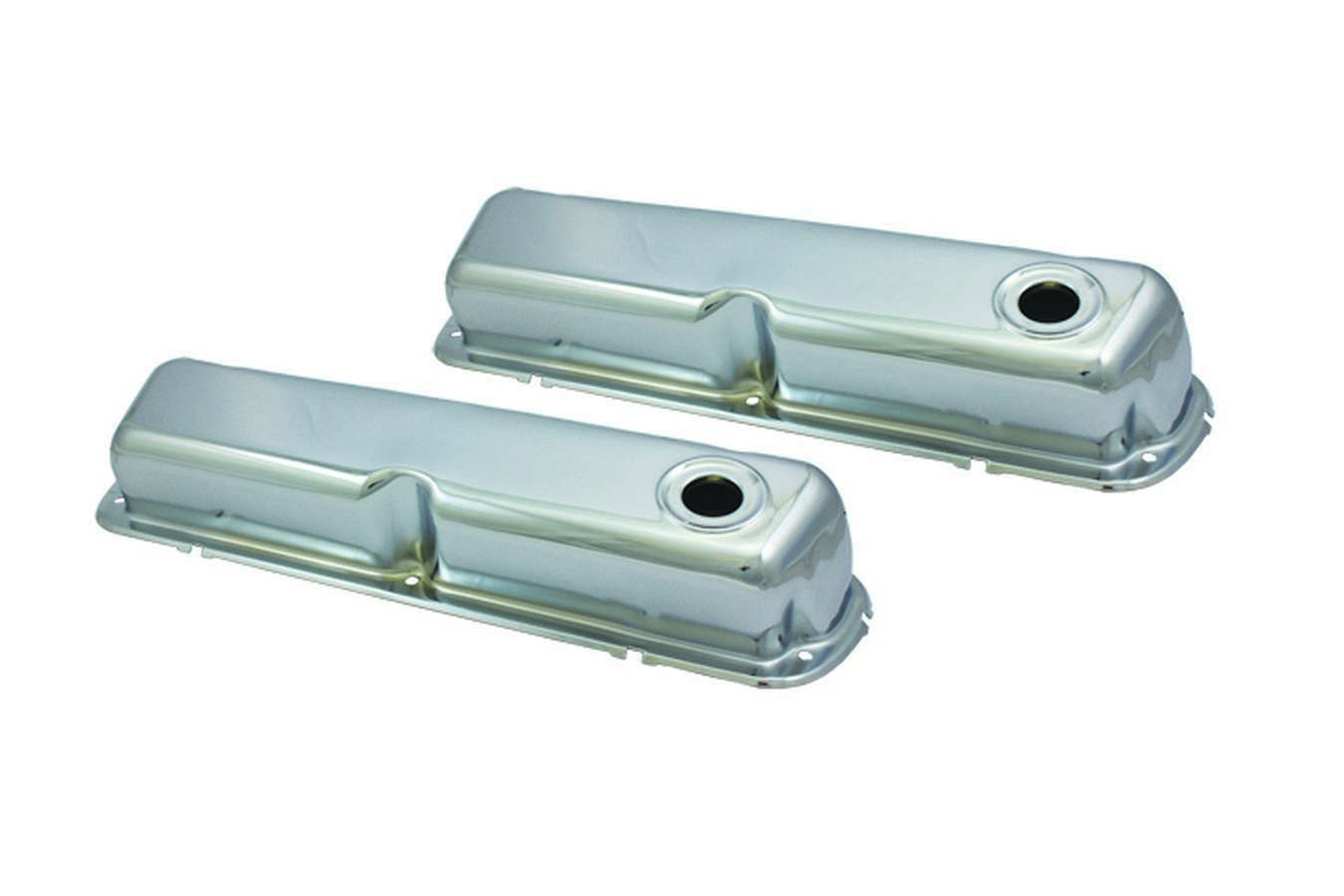 Specialty Products 8331 Valve Cover, Tall, Baffled, Breather Holes, Steel, Chrome, Small Block Ford, Pair
