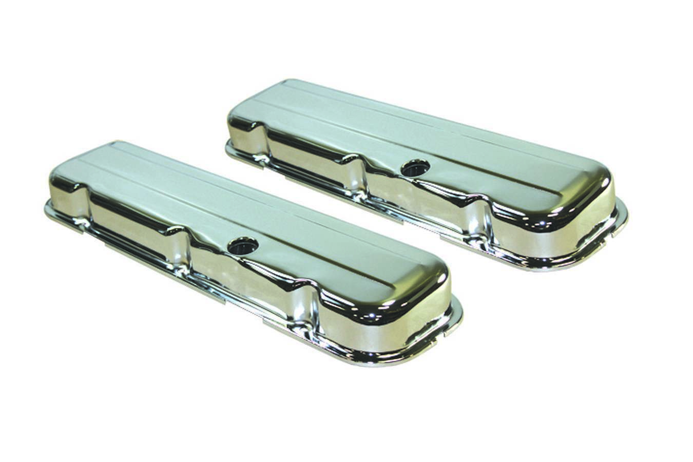 Specialty Products 8333 Valve Cover, Stock Height, Baffled, Breather Holes, Steel, Chrome, Big Block Chevy, Pair