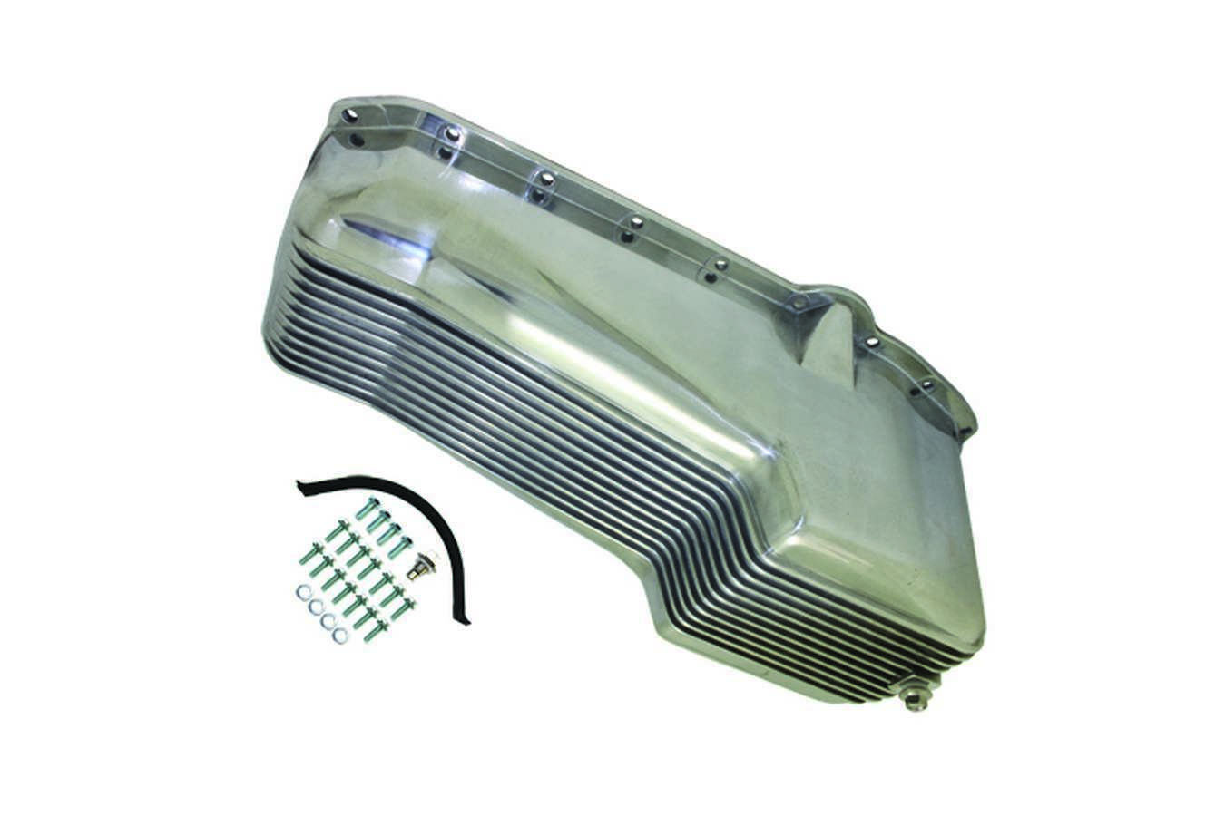 Specialty Products 8442 Engine Oil Pan, Rear Sump, Stock Capacity, Stock Depth, Finned, Aluminum, Polished, Small Block Chevy, Each