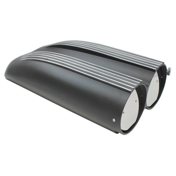 Specialty Products 8450BK Air Cleaner Assembly, Hood Scoop, 20 in Length, Dual and Single 5-1/8 in Carb Flange, Aluminum, Black Powder Coat, Kit