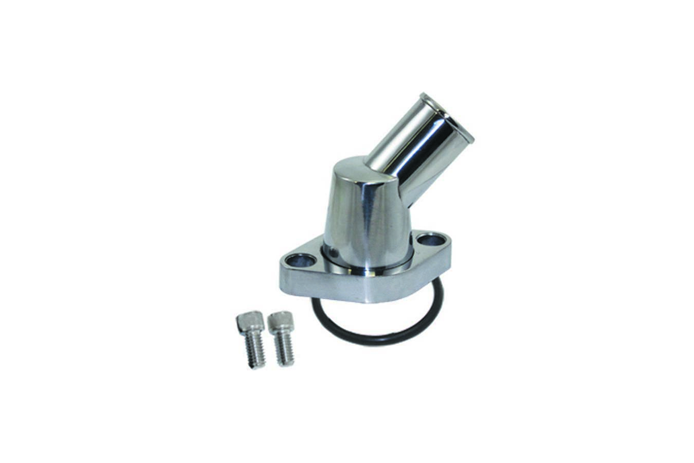 Specialty Products 8455 Water Neck, 45 Degree, 1-1/2 in ID Hose, Swivel, O-Ring, Hardware Included, Aluminum, Polished, Chevy V8, Each