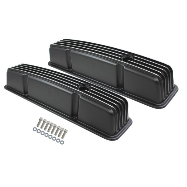 Specialty Products 8526BK Valve Cover, Tall, Baffled, Breather Holes, Aluminum, Black Powder Coat, Small Block Chevy, Pair