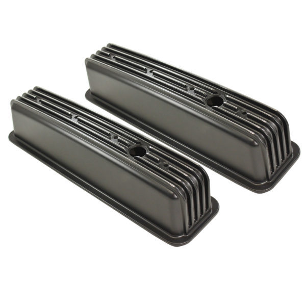 Specialty Products 8528BK Valve Cover, Tall, Baffled, Breather Holes, Aluminum, Black Powder Coat, Center Bolt, Finned, Small Block Chevy, Pair