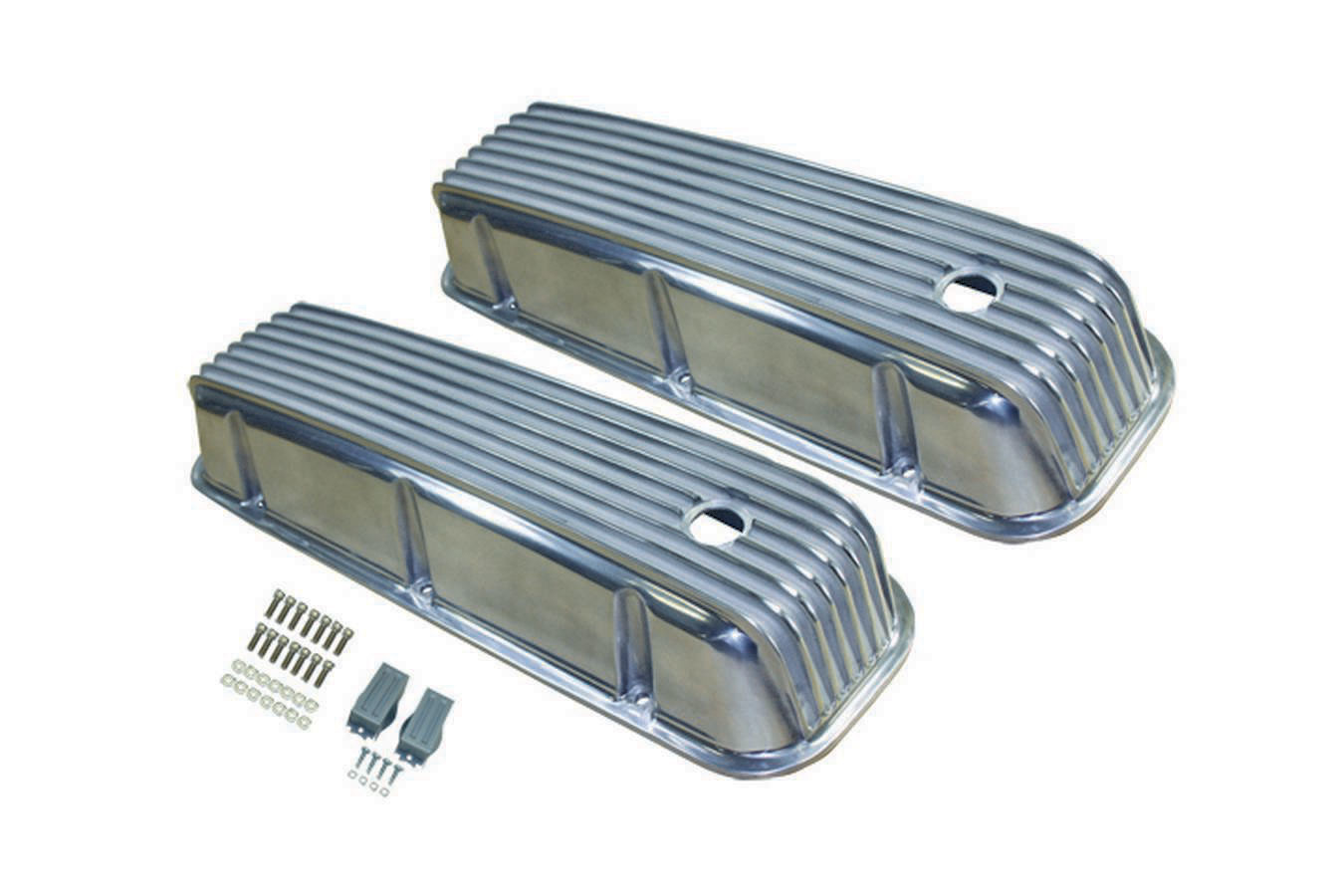Racing Power Company R6330 Tall Ball Milled Polished Aluminum Valve Cover for Big Block Chevy