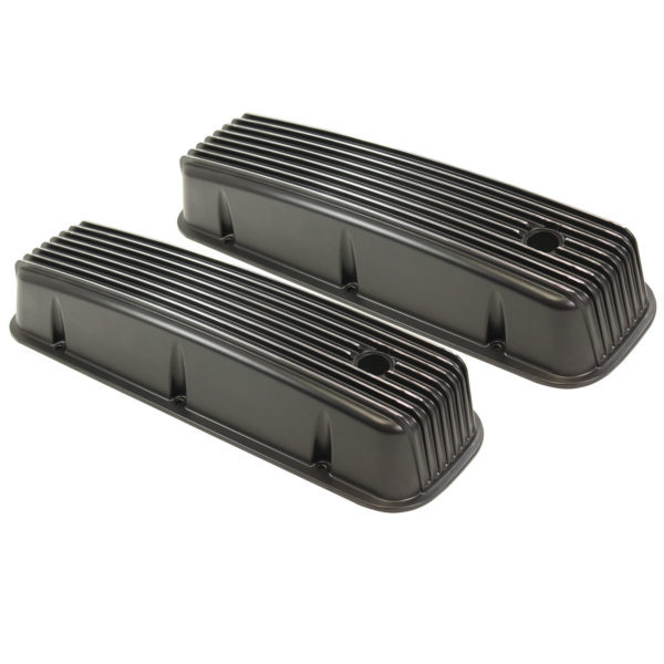 Specialty Products 8530BK Valve Cover, Tall, Baffled, Breather Holes, Aluminum, Black Powder Coat, Big Block Chevy, Pair