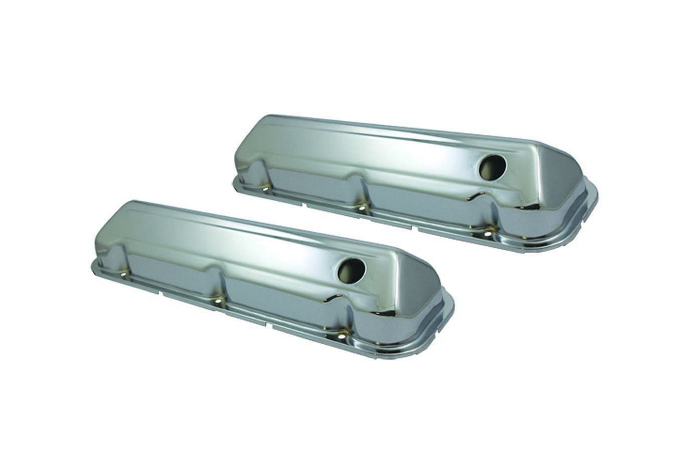 Specialty Products 8542 Valve Cover, Stock Height, Baffled, Breather Holes, Steel, Chrome, Big Block Ford, Pair