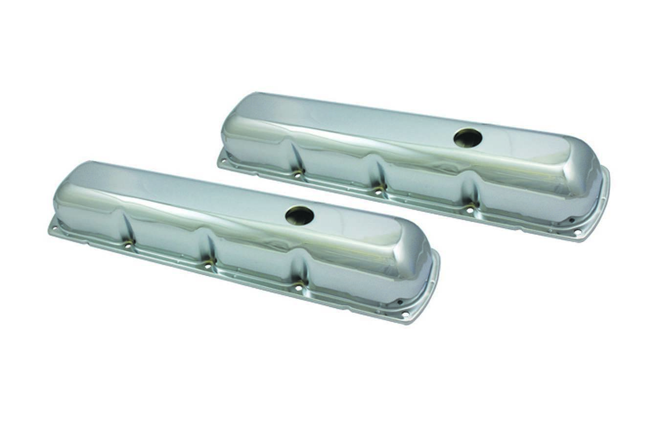 Specialty Products 8544 Valve Cover, Stock Height, Baffled, Breather Holes, Steel, Chrome, Oldsmobile V8, Pair