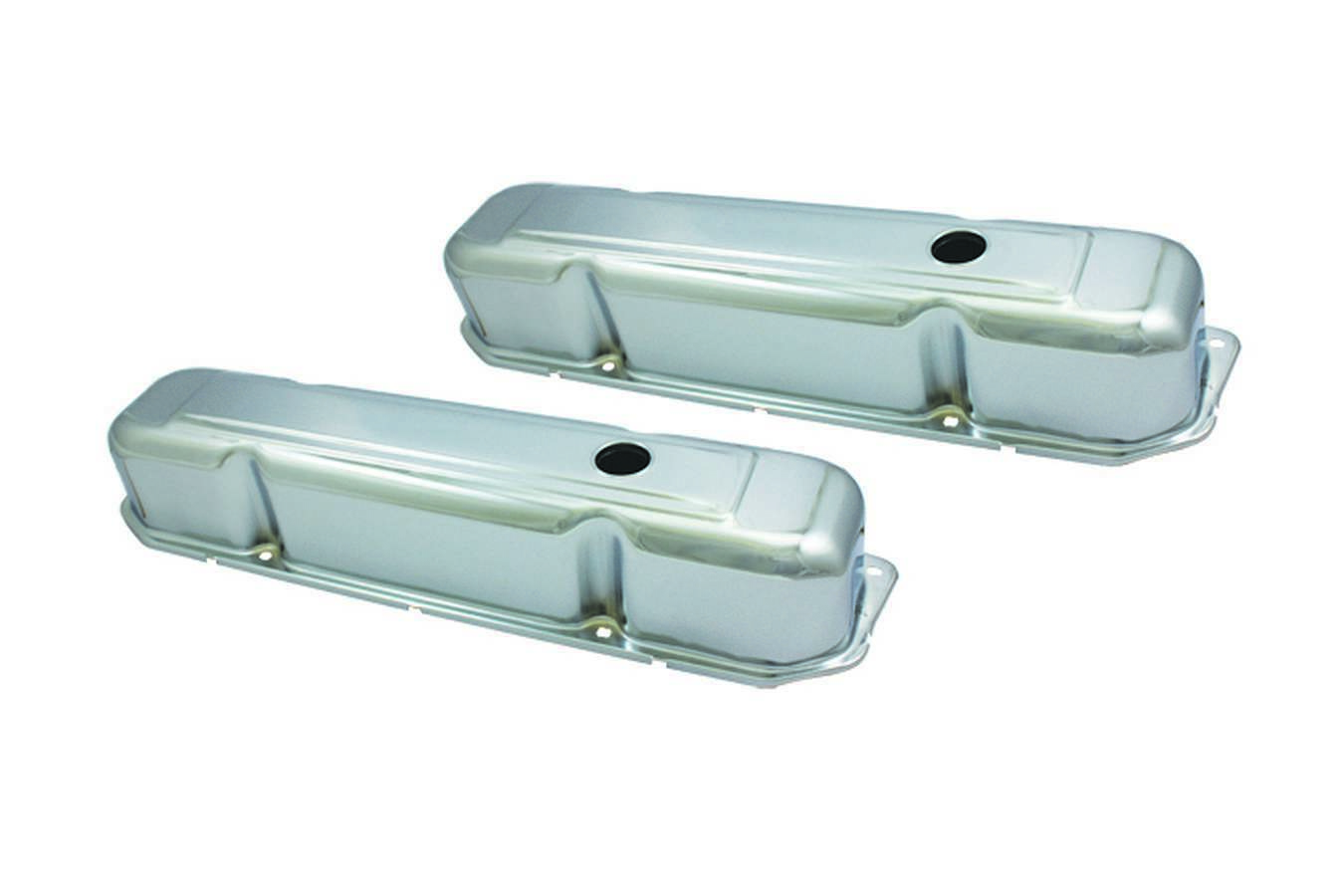 Specialty Products 8547 Valve Cover, Stock Height, Baffled, Breather Holes, Steel, Chrome, Mopar RB-Series, Pair