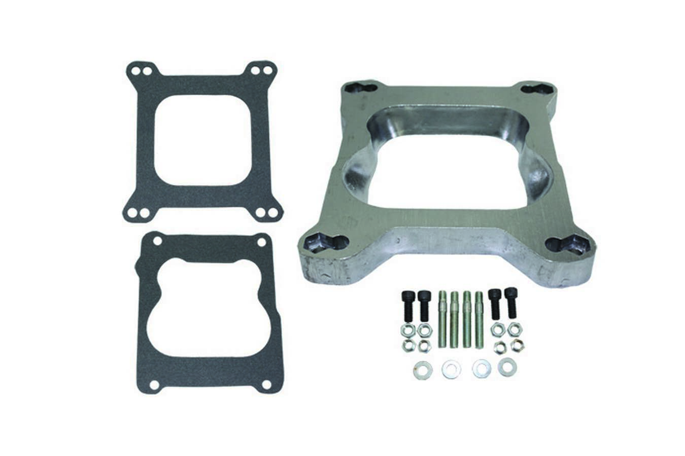 Specialty Products 9130 Carburetor Adapter, 1 in Thick, Open, Spread Bore to Square Bore, Gaskets / Hardware Included, Aluminum, Natural, Each