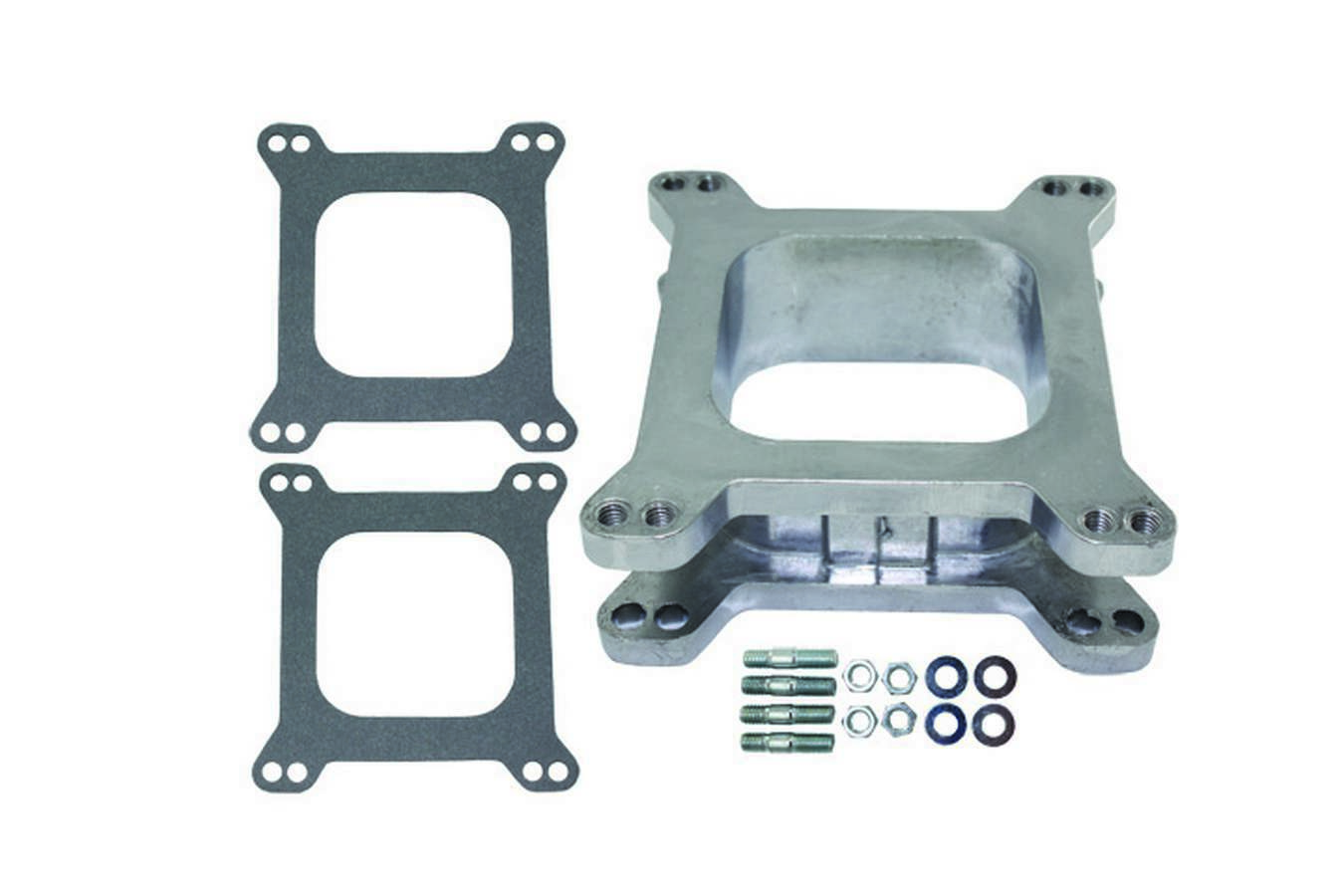 Specialty Chrome 9132 Carburetor Adapter, 2 in Thick, Open, Carter AFB to Square Bore, Gaskets/Hardware Included, Aluminum, Natural, Each