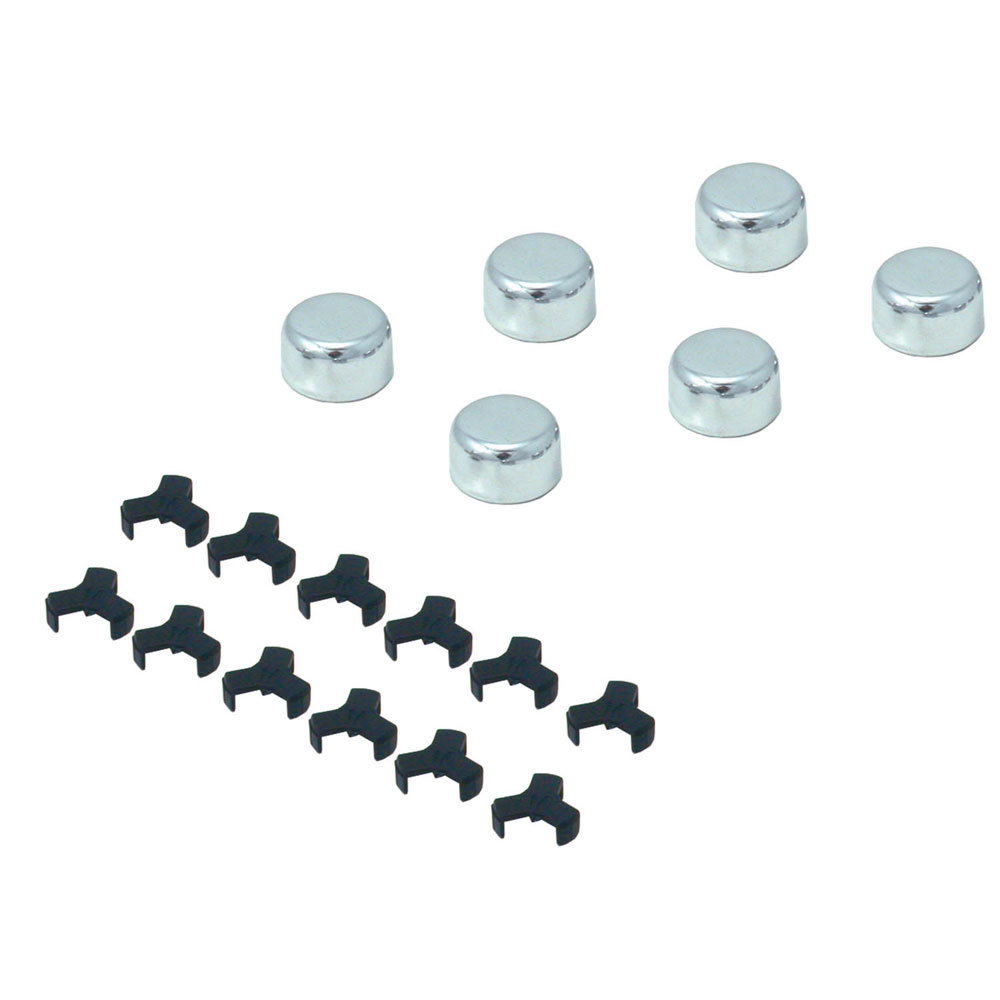 Spectre 1418 Bolt Cap, 9/16 in or 14 mm Bolt Caps, Steel, Chrome, Set of 6