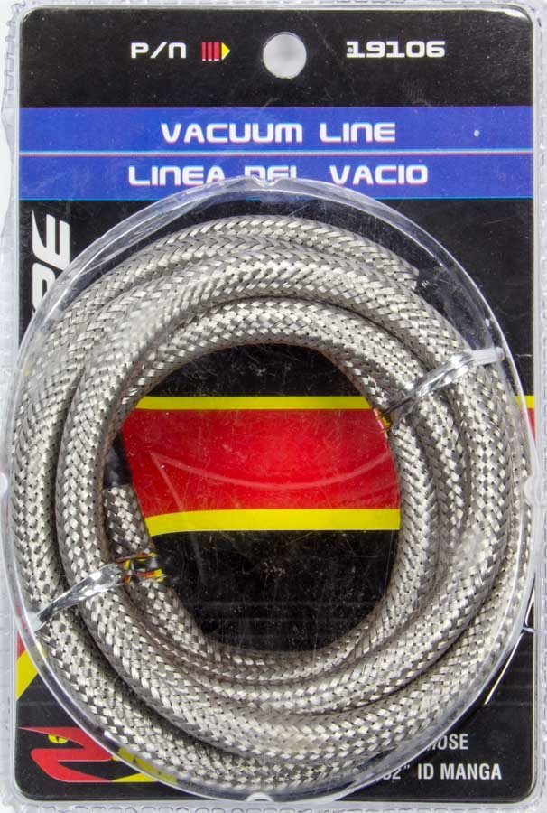Spectre 19106 Hose, Flex Vac, 5/32 in ID, 6 ft, Braided Stainless, Rubber, Natural, Each