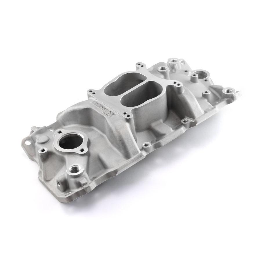 Speedmaster 1-147-002 Intake Manifold, LowRise, Square Bore, Dual Plane, Aluminum, Polished, Small Block Chevy, Each
