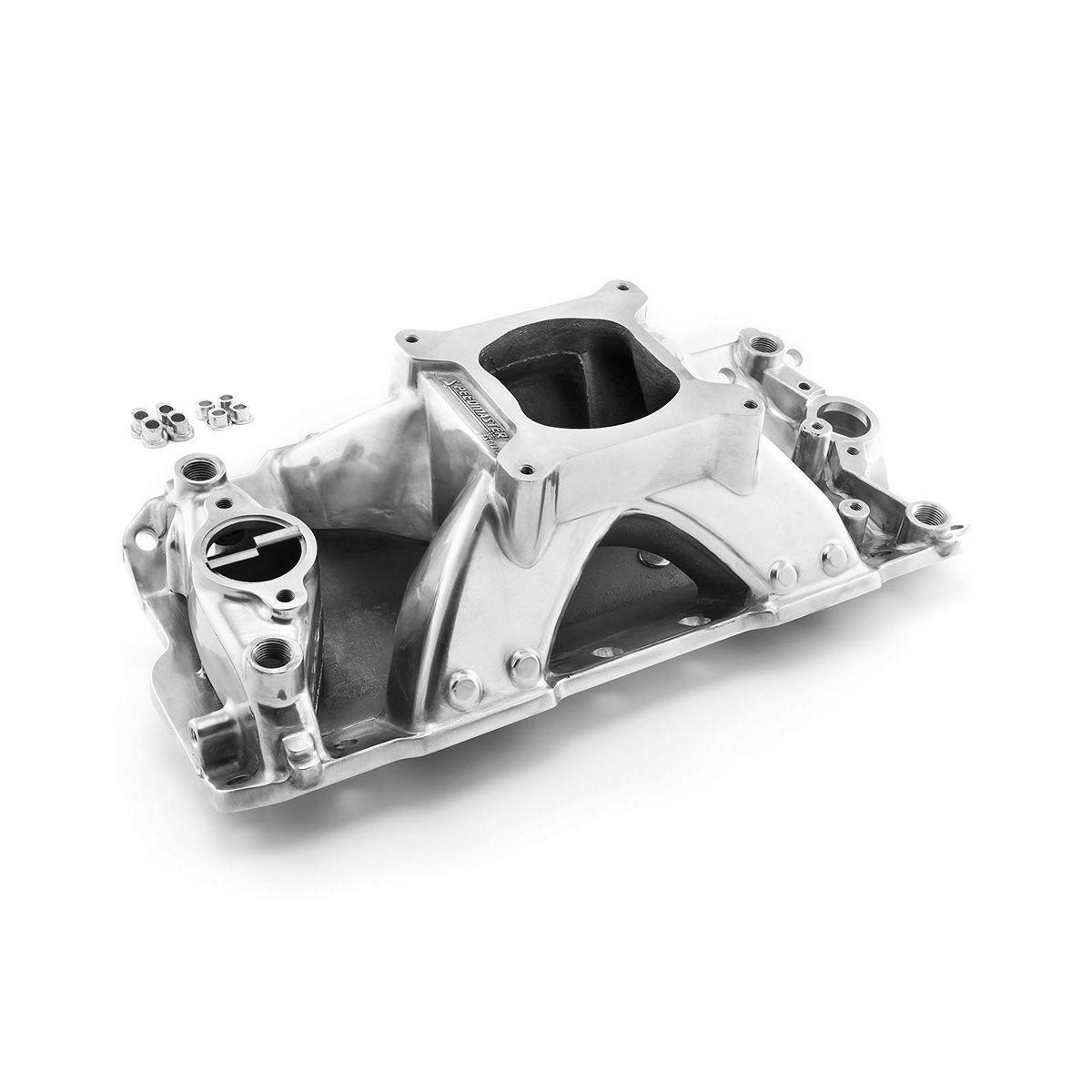 Speedmaster 1-147-014 Intake Manifold, HiRise, Square Bore, Single Plane, Aluminum, Polished, Small Block Chevy, Each