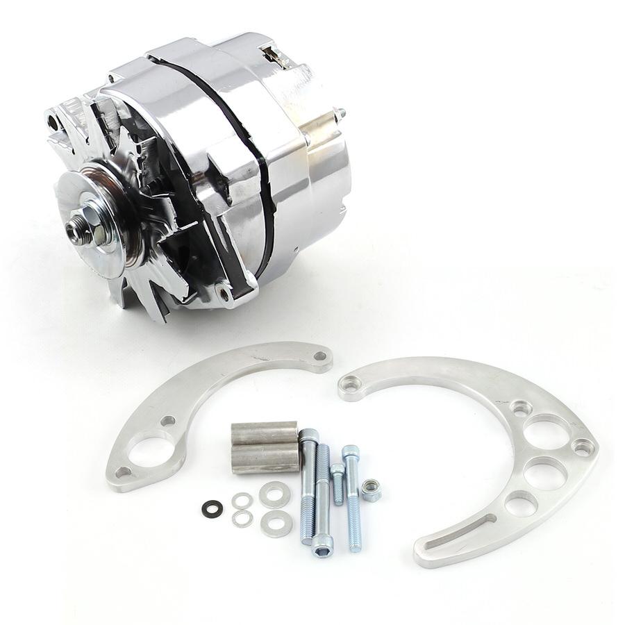 Speedmaster PCE360.1104 Alternator, 100 amp, 12V, 3-Wire, Single V-Belt Pulley, Mounting Bracket Included, Steel, Chrome Plated, Kit
