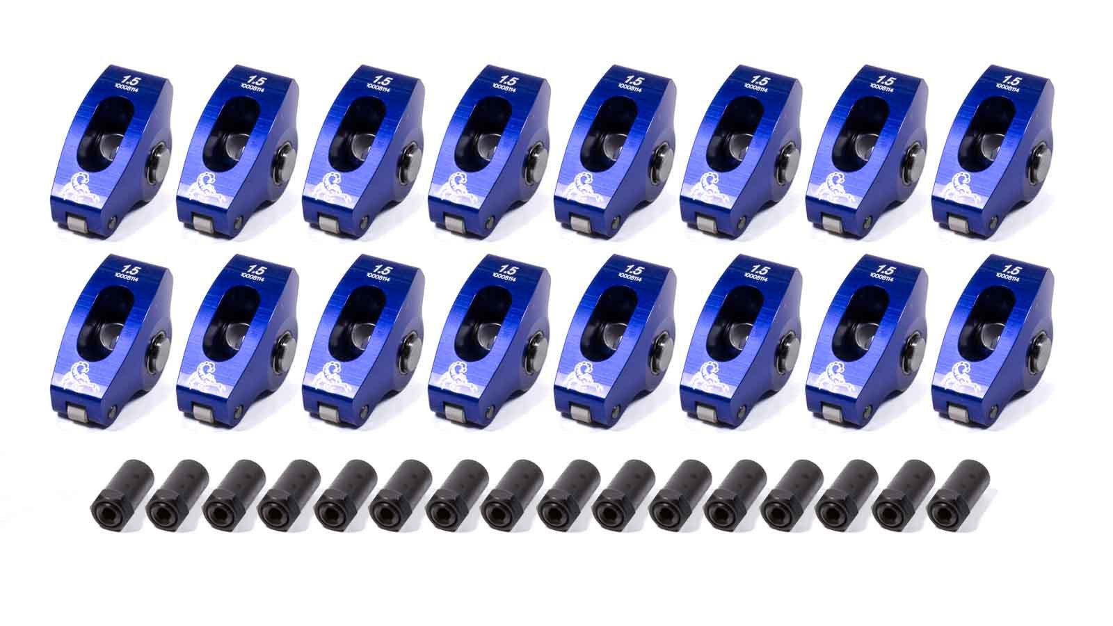 Scorpion Performance 1011 Rocker Arm, Race Series, 7/16 in Stud Mount, 1.50 Ratio, Full Roller, Aluminum, Blue Anodize, Small Block Chevy, Set of 16