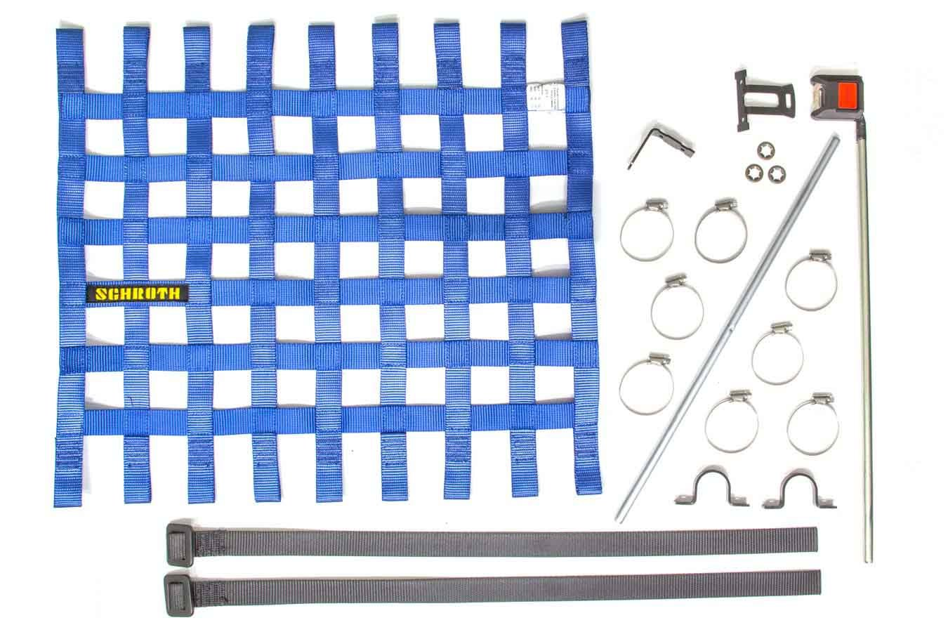 Schroth Racing SR09045-1 Window Net, SFI 27.1, FIA Approved, 1 in Webbing, 18-1/2 x 24 in Rectangle, Installation Hardware Included, Blue, Kit