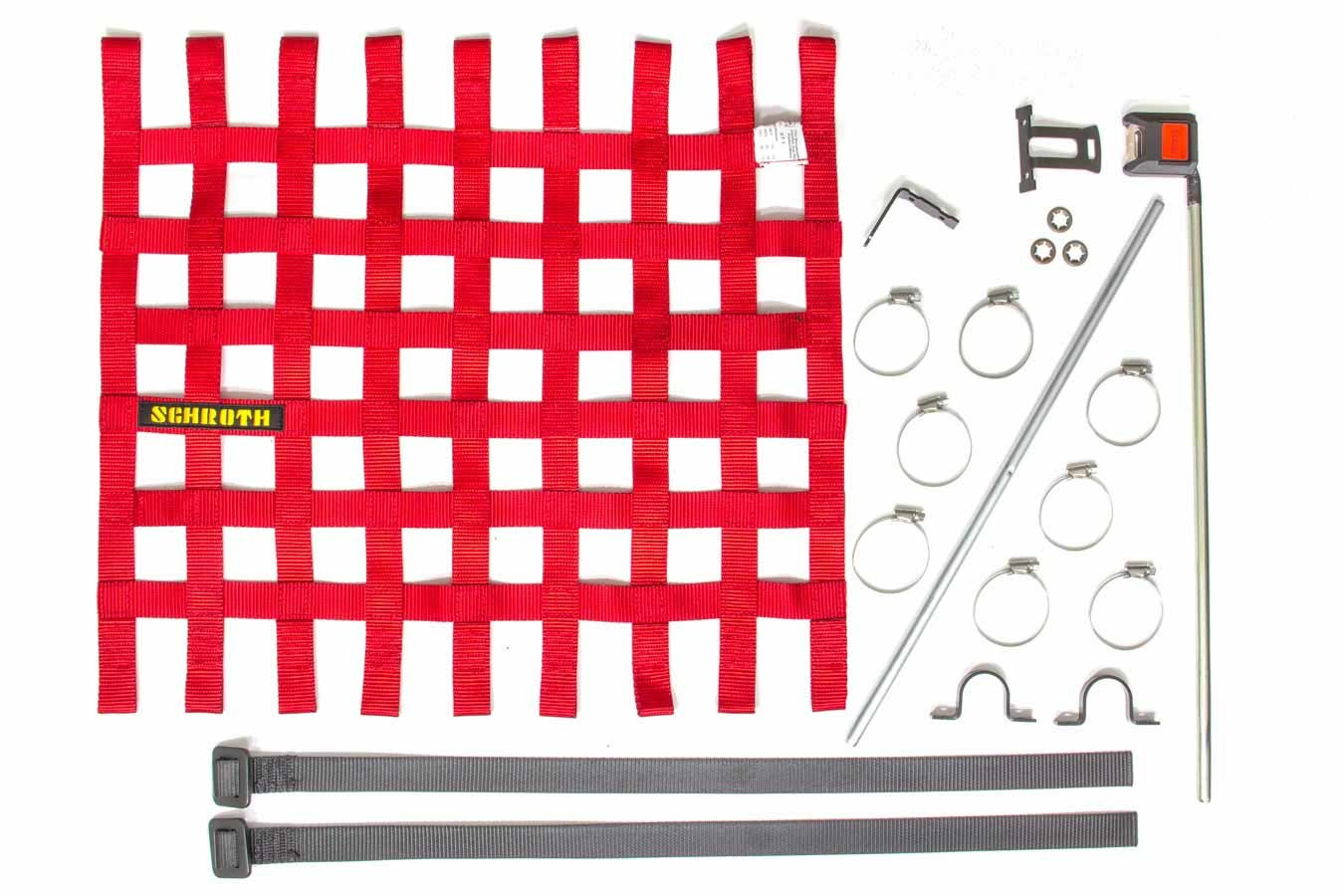 Schroth Racing SR09045-2 Window Net, SFI 27.1, FIA Approved, 1 in Webbing, 18-1/2 x 24 in Rectangle, Installation Hardware Included, Red, Kit