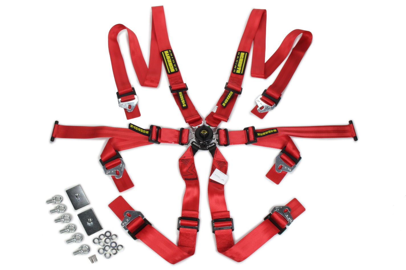 6pt Harness System Flexi Red FIA HANS