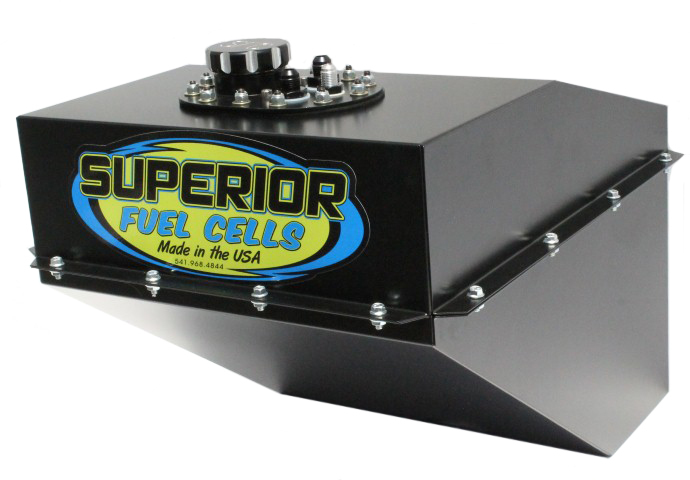 Superior Fuel SFC16T-BL Fuel Cell and Can, 16 gal, 20-3/4 in Deep x 16-1/2 in Wide, 10 AN Male Outlet / Return, 6 AN Rollover Valve, Steel / Plastic, Black, Dirt Late Model / Modified, Each