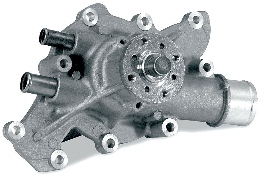 Stewart 16183 Water Pump, Mechanical, Stage 1, Reverse Rotation, 5/8 in Pilot, Iron, Natural, Small Block Ford, Each