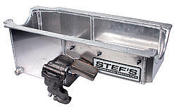 Stefs 1020 Engine Oil Pan Kit, Drag, Rear Sump, 6 qt, 8 in Deep, Hardware / Oil Pump / Pickup Included, Aluminum, Natural, Small Block Chevy, Kit