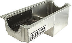 Stefs 1065 Engine Oil Pan Kit, Drag, Rear Sump, 6 qt, 8 in Deep, Hardware / Oil Pump / Pickup Included, Aluminum, Natural, Iron Eagle, Small Block Chevy, Kit
