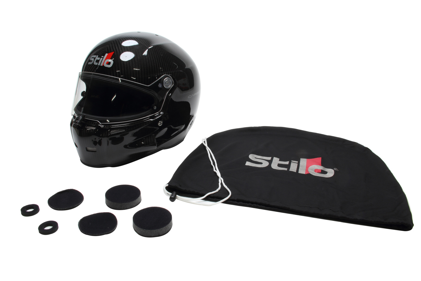 Stilo AA0700AF1M-S55 Helmet, ST5 GT Carbon, Snell SA2015, FIA Approved, Head and Neck Support Ready, Carbon Fiber, Small, Each