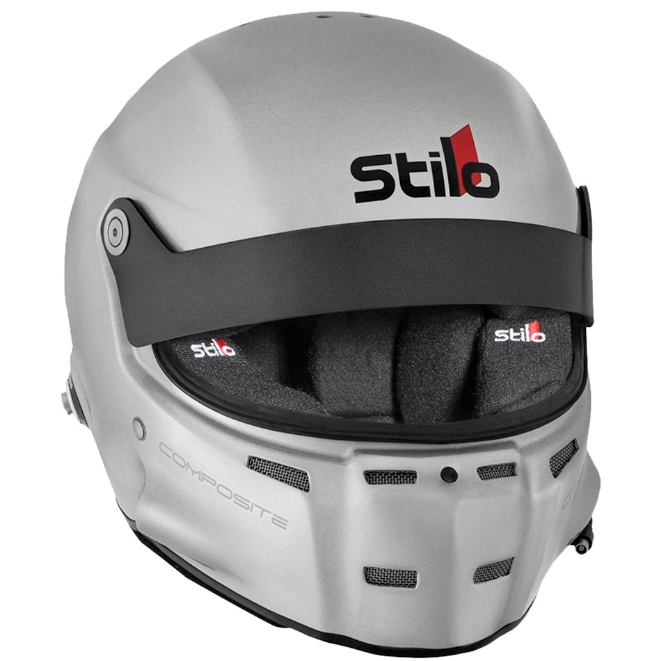 Stilo AA0700AF2M-S55 Helmet, ST5 GT Composite, Snell SA2015, FIA Approved, Head and Neck Support Ready, Silver, Small, Each