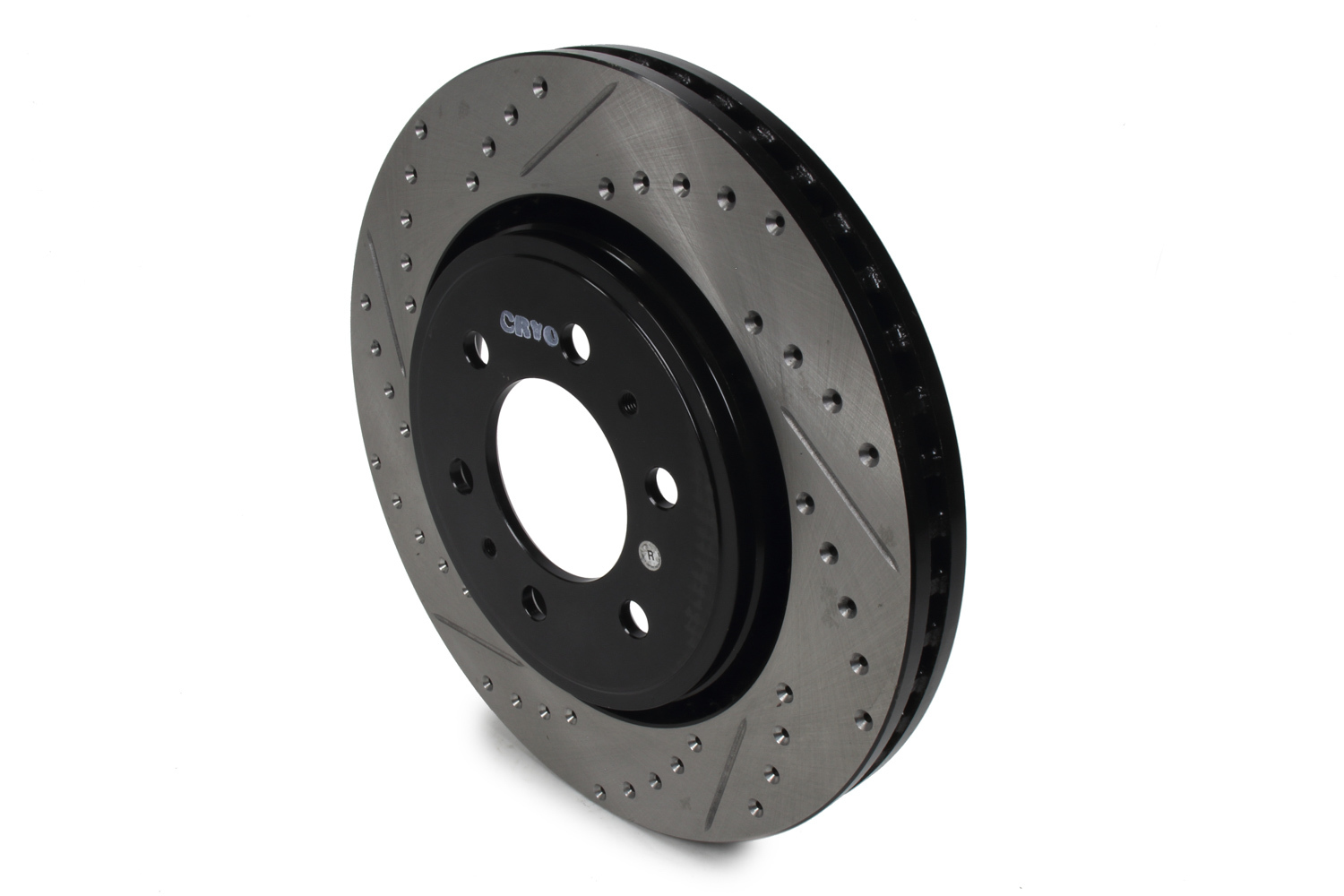Stoptech 127.65119CR Brake Rotor, Sport Cryo, Front, Passenger Side, Drilled / Slotted, 350 mm OD, 34 mm Thick, 6 x 135 mm Bolt Pattern, Iron, Black Paint, Each