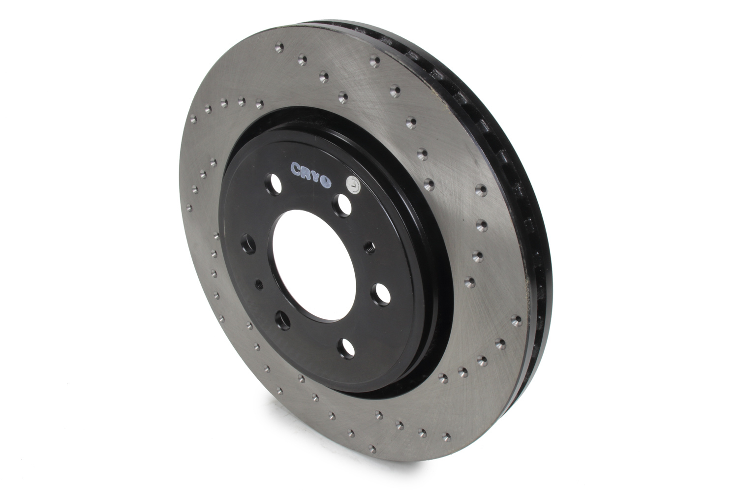Stoptech 128.65119CL Brake Rotor, Sport Cryo, Front, Driver Side, Drilled / Slotted, 350 mm OD, 34 mm Thickness, 6 x 135 mm Bolt Pattern, Iron, Black Paint, Each