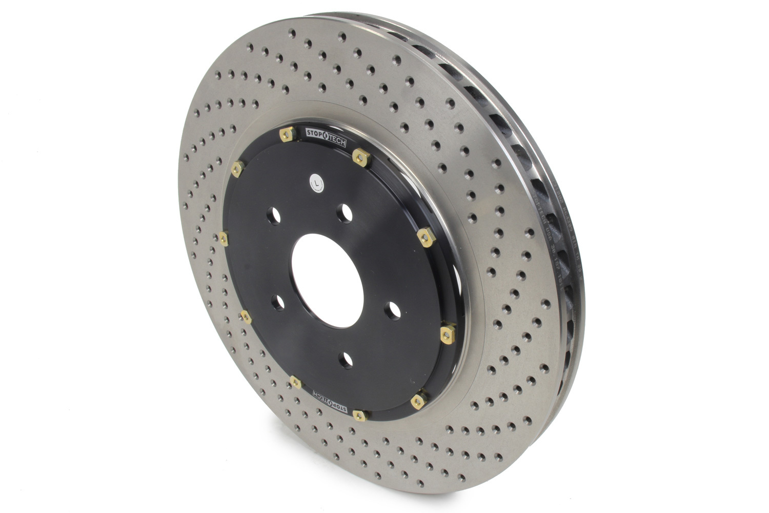 Stoptech 129.62102.15 Brake Rotor, AeroRotor, Front, Driver Side, Drilled, 355 mm OD, 32 mm Thick, 5 x 120.65 mm Bolt Pattern, Iron, Black Paint, Each