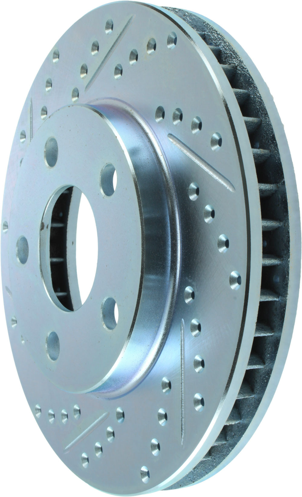 Stoptech 227.62057R Brake Rotor, Sport, Front, Passenger Side, Drilled / Slotted, 278 mm OD, 32.3 mm Thick, 5 x 118 mm Bolt Pattern, Iron, Natural, Each