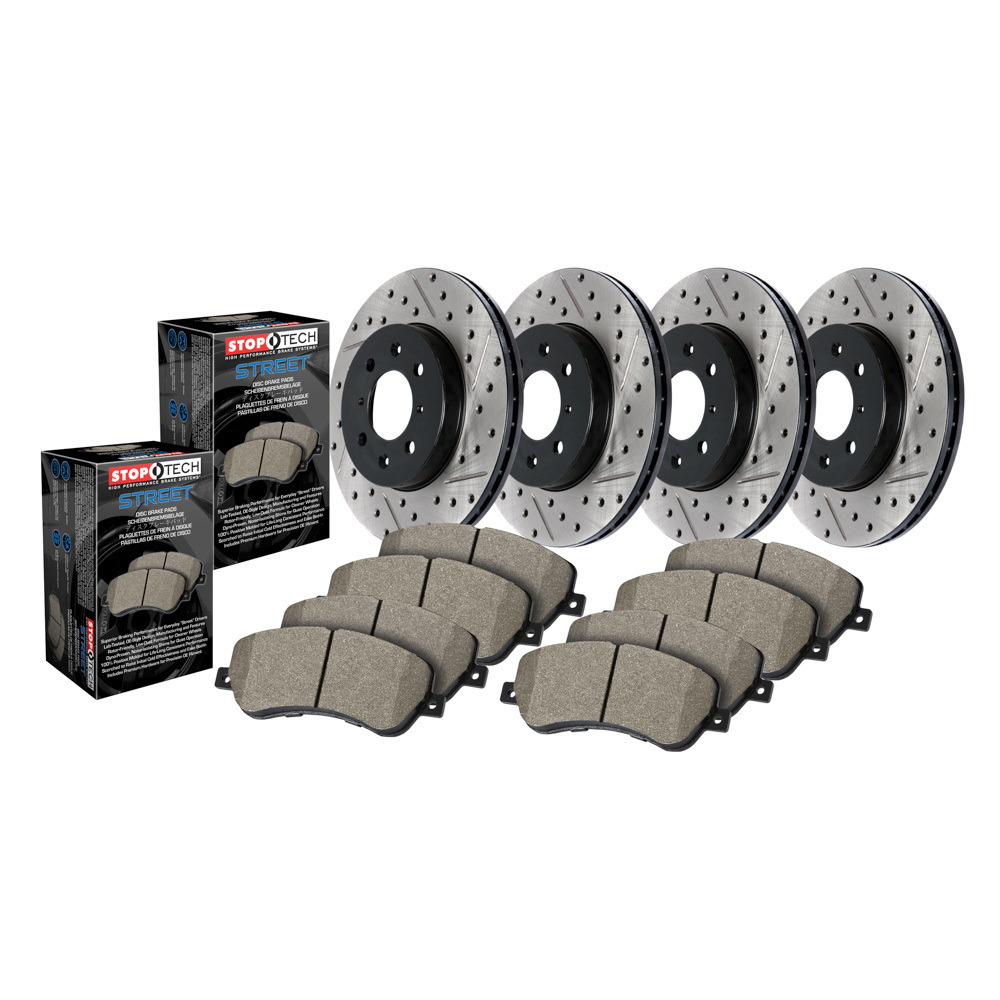 Stoptech 935.63015 Brake Rotor and Pad Kit, Premium, Front / Rear, Ceramic Pads, Iron, Black Paint, Mopar LC-Body / LD-Body / LX-Body 2005-19, Kit