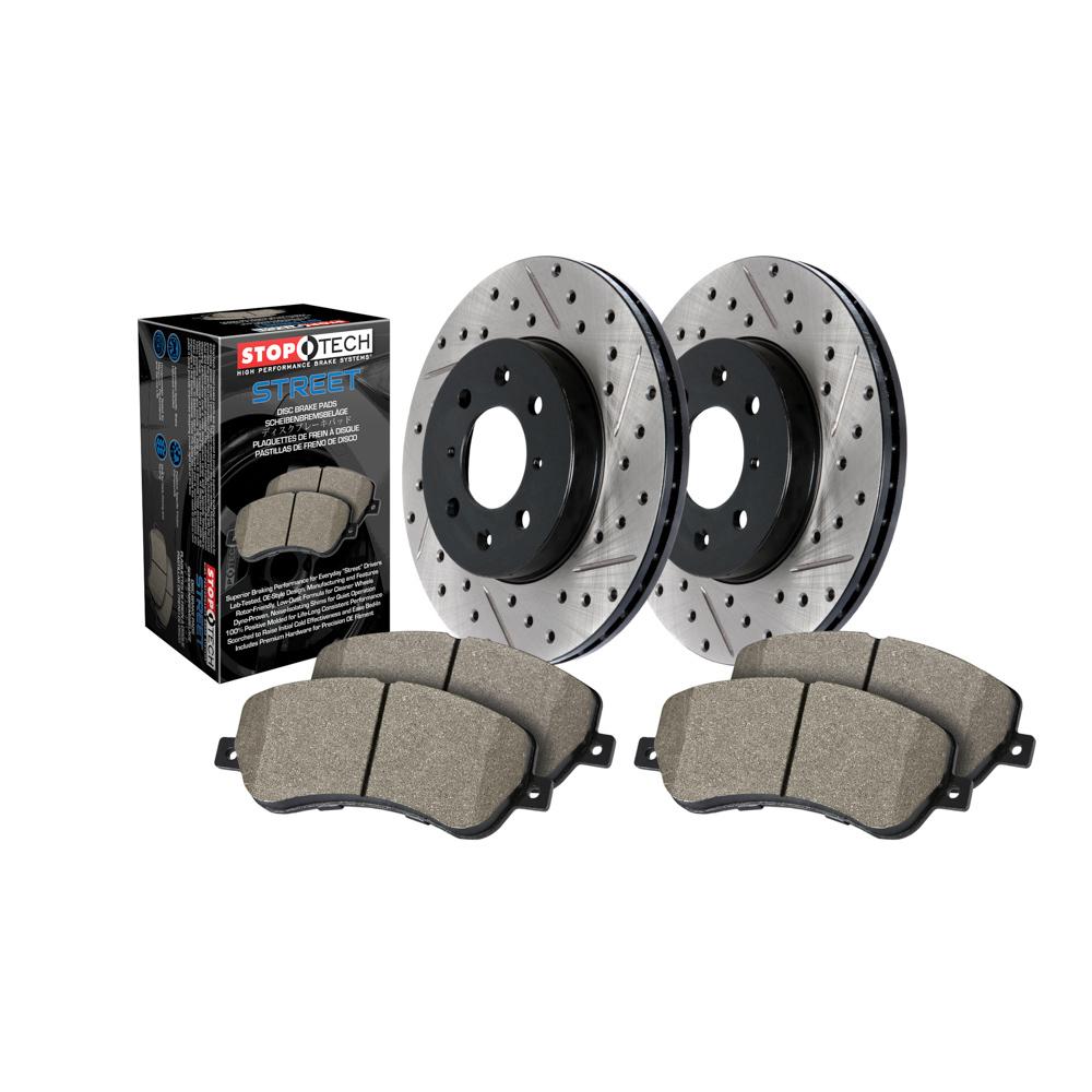 Stoptech 938.62513 Brake Rotor and Pad Kit, Premium, Rear, Ceramic Pads, Iron, Black Paint, Chevy Camaro 2010-15, Kit