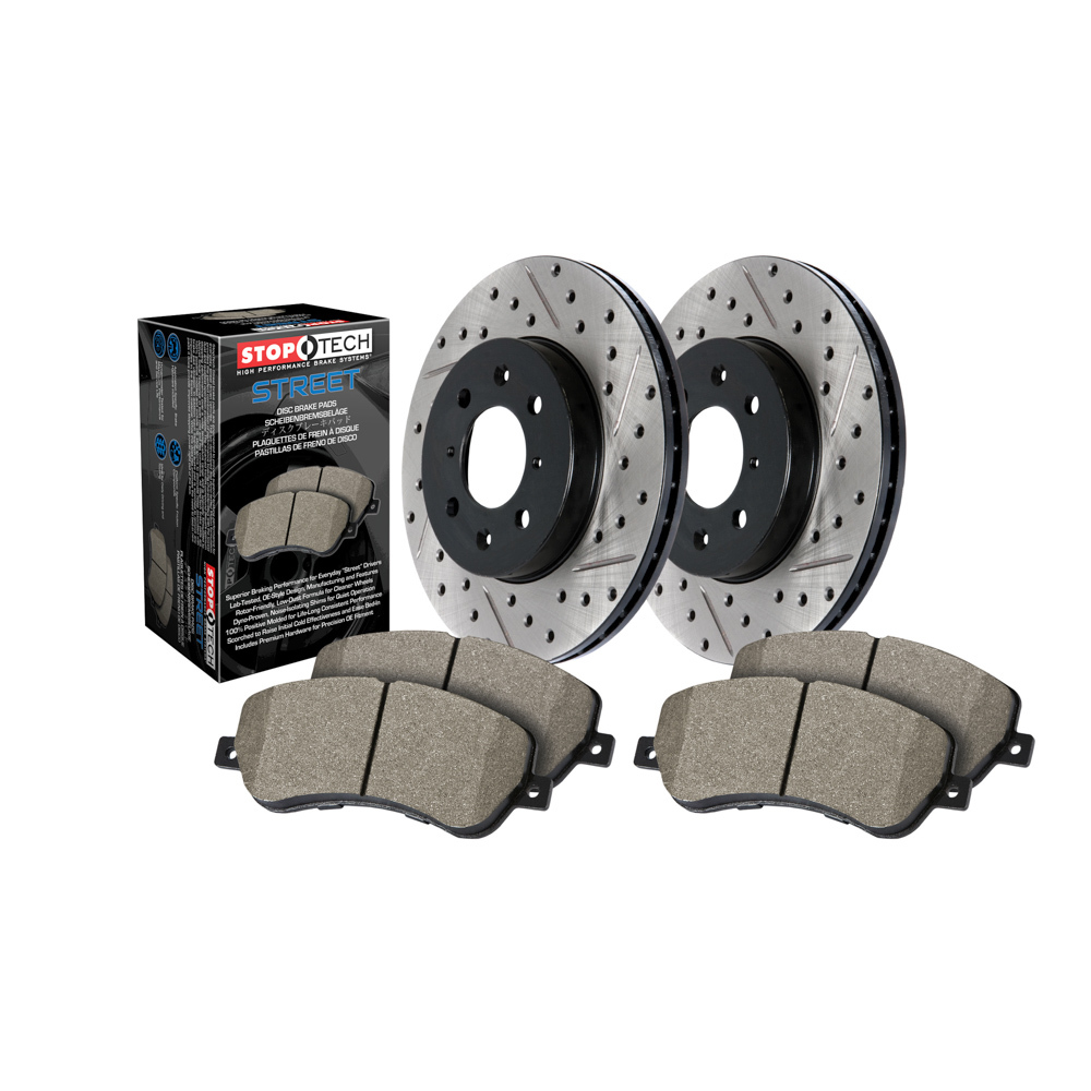 Stoptech 938.63013 Brake Rotor and Pad Kit, Premium, Front, Ceramic Pads, Iron, Black Paint, Mopar LA-Body / LC-Body / LD-Body / LX Body 2005-16, Kit