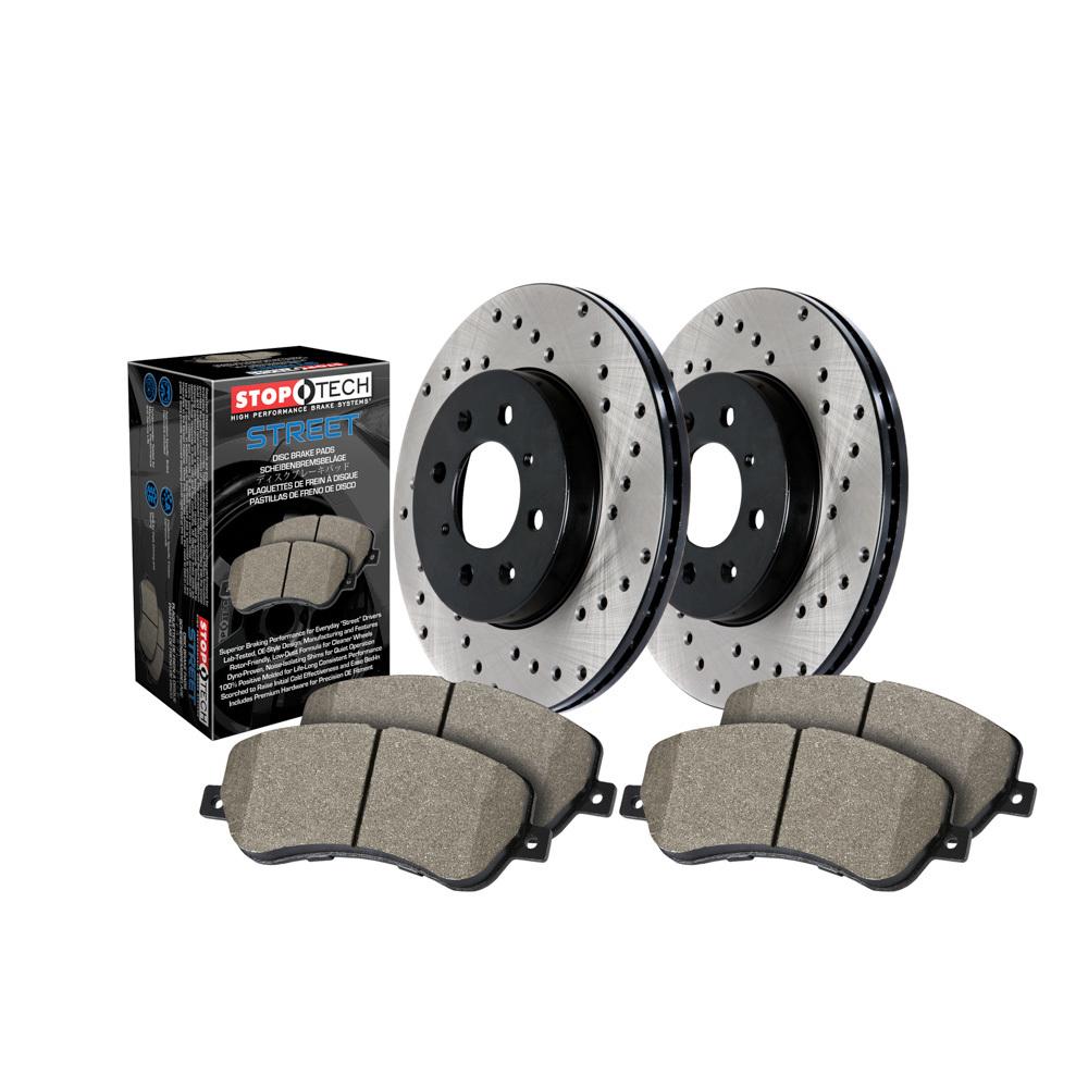 Stoptech 939.58002 Brake Rotor and Pad Kit, Premium, Front, Semi-Metallic Pads, Iron, Black Paint, Jeep Grand Cherokee 2011-17, Kit