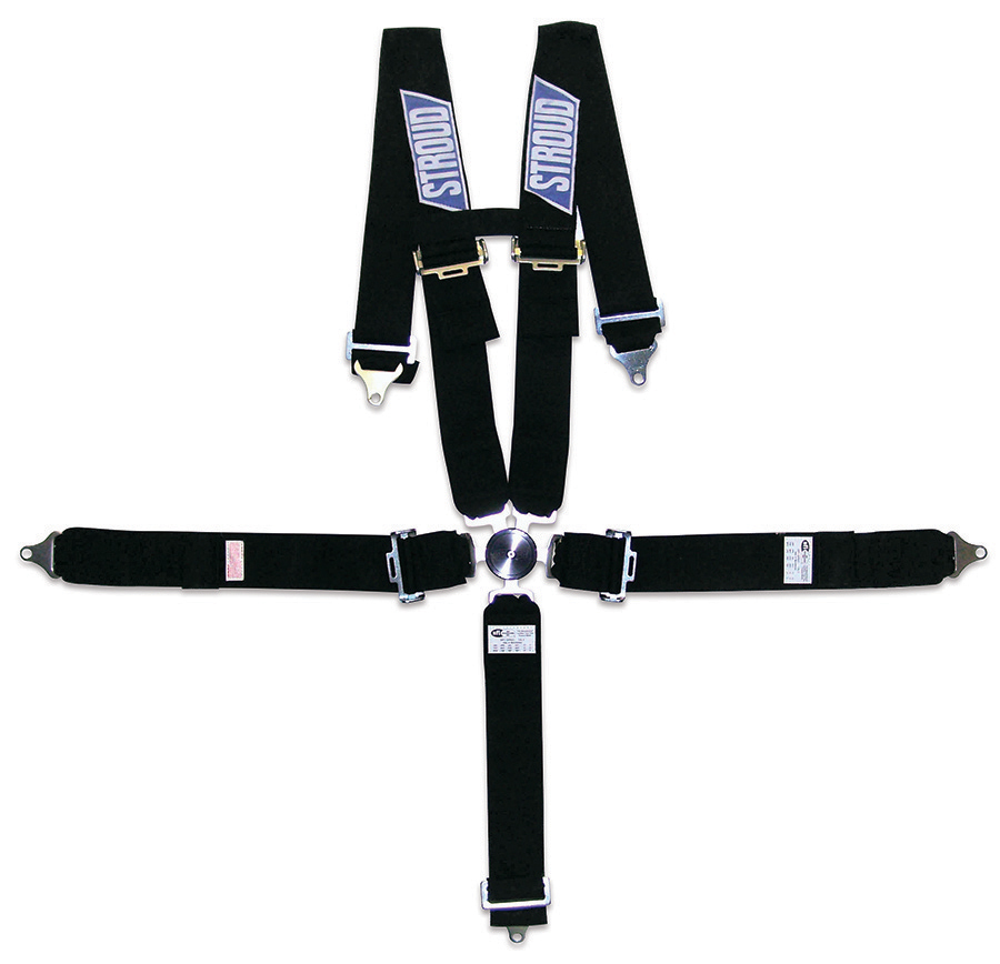 Stroud Safety 2001 Harness, 5 Point, Camlock, SFI 16.1, Pull Down Adjust, Bolt-On / Wrap Around, Individual Harness, Black, Kit